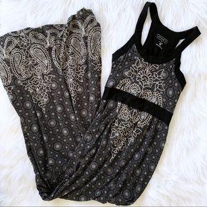 Athleta Black Floral Paisley Jersey Maxi Dress